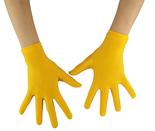 Ensnovo Adult Wrist Length Lycra Spandex Full Finger Stretchy Short Gloves Yellow -