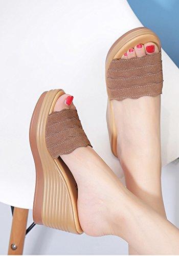 Zapatillas ZCJB Color UK4 Grueso Marrón Exterior Alto Moda De L Sandalias EU37 Sandalias Escarchas Slope Negro De Tamaño Desgaste Tacón Mujer Verano Tacón 23cm CArxAdqFn