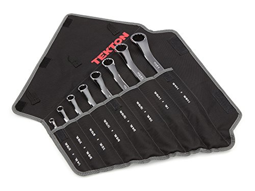 Obstruction Box Wrench - TEKTON 45-Degree Offset Box End Wrench Set with Roll-up Storage Pouch, Inch, 1/4-Inch - 1-1/4-Inch, 8-Piece | WBE23508