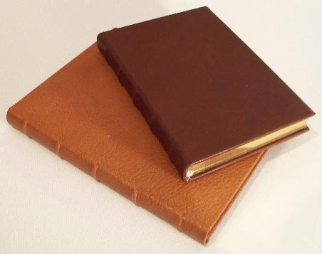 French Calfskin Leather Lined Hardcover Journal - Cognac