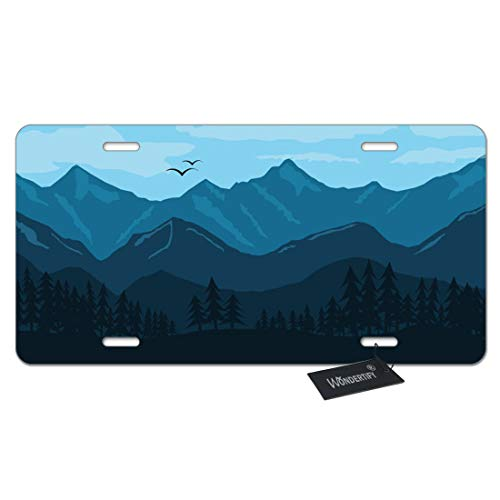 WONDERTIFY License Plate Smoky Mountain Landscape Morning in The Mountains Forest Blue Decorative Car Front License Plate,Vanity Tag,Metal Car Plate,Aluminum Novelty License Plate,6 X 12 Inch Decorative License Plate Tag