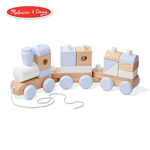 Melissa & Doug Wooden Jumbo Stacking Train (3-Color Toddler Toy, Decorative Piece, 17 Pieces) ()