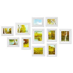 Voilamart 11 Pieces Photo Picture Frame Set DIY Wall Hanging Display Home Decor White