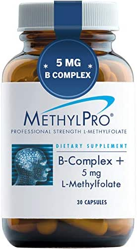 MethylPro B-Complex + 5mg L-Methylfolate 30 Capsules - Professional Strength Active Folate for Energy + Mood Support with Methyl B12 + B6 as P-5-P, Non-GMO + Gluten-Free