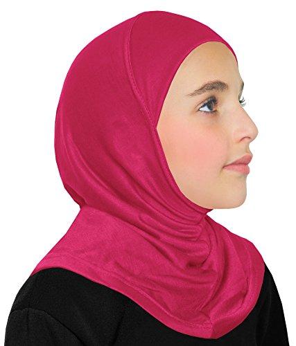 Girl's Hijab Cotton 1 piece Amira Headscarf (Hot Pink) ()