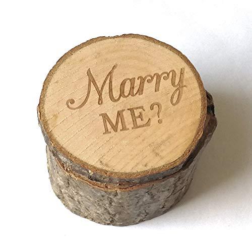 Connoworld Marry Me - Estuche rústico de Madera para Anillos de Boda, Compromiso, San Valentín, cásate Conmigo, 1