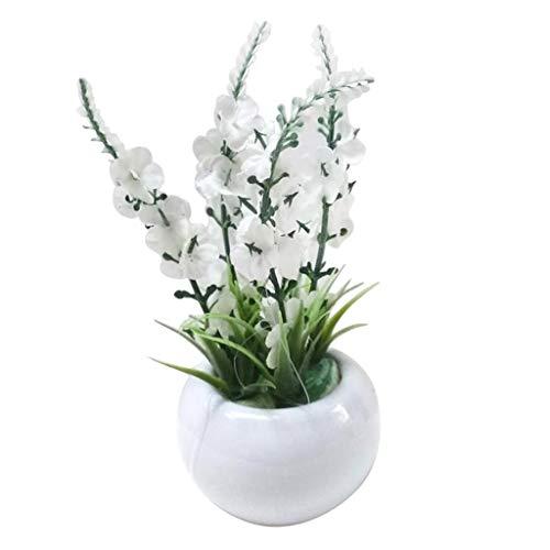Sm Flower Garden - SM SunniMix Garden Artificial Silk Flowers Simulation Flower Bonsai with Ceramic Vase Pot Home Office Windowsill Decoration (White,Purple) - White