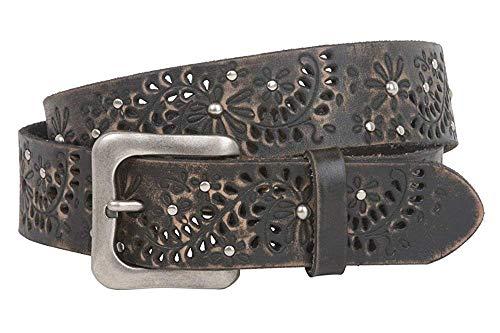 MONIQUE Women Snap On Vintage Full Grain Leather Floral Perforated 1.5'' Belt,Black 30