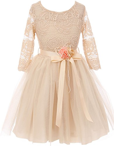 Big Girl Floral Lace Top Tulle Flower Holiday Party Flower Girl Dress USA Champagne 14 JKS 2098