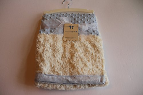 """Beautiful Rosette and Dot Blue and Ivory Baby Blanket 30x40"""""""