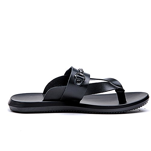 Soft 5MUS Black amp;Baby Abrasion Flip Leather Black Sunny Size Thong Slippers Genuine Sole Slip Men's Sandals Resistant 9 Beach Flops Non Color PwqTRqd