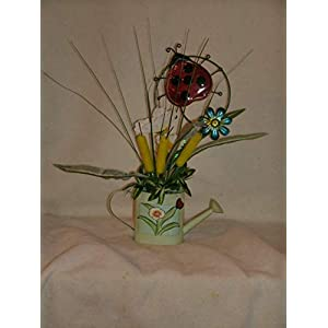 The Unique Gift Boutique-Ladybug Watering Can Silk Cloth Floral Arrangement 53