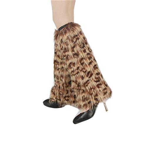 Leopard Leg Warmers - Yu Li Womens Furry Leg Warmers Super Soft Multicolor Boots Shoes Cuffs Covers Leopard print 40cm