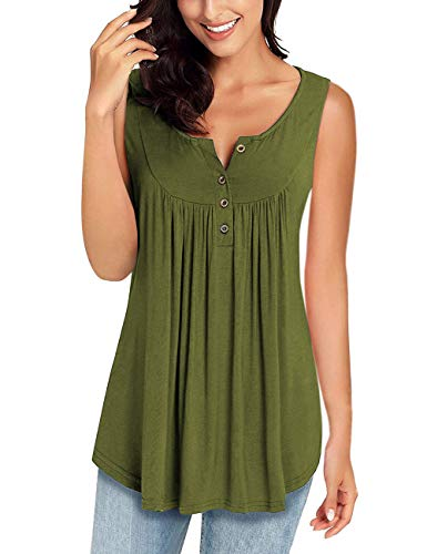 MIROL Womens Spring Sleeveless V Neck Solid Color Casual Swing Shirts Flowy Tank Tops Maternity Blouses with Buttons ArmyGreen