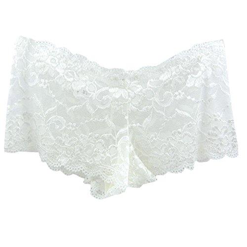 Easykan Women's Seamless Stretch Full Lace Boyshort Panties Various Color (16, White)