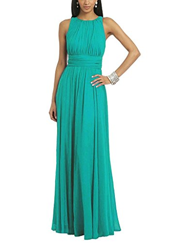- Women's Halter Sleeveless A-line Chiffon Floor-Length Bridesmaid Dress Jade US16W