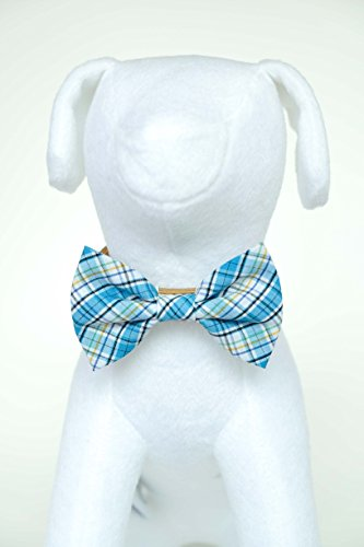Bow Tie Accessory (White Sky Tartan - Hand Stitched Dog Cat Pet Bow Tie Bowtie Collar Accessory (Collar Not Included))