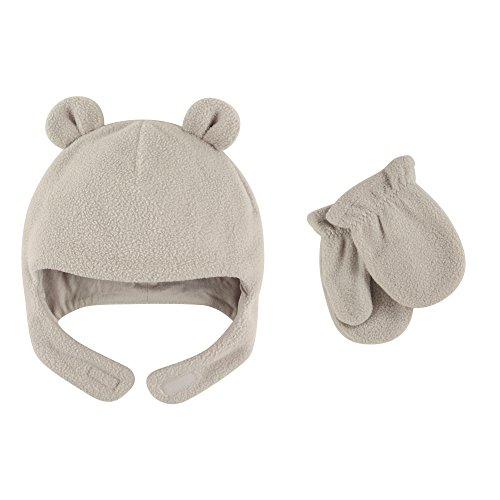 Luvable Friends Baby Fleece Bear Hat and Mitten Set, Light Gray, 12-18 Months