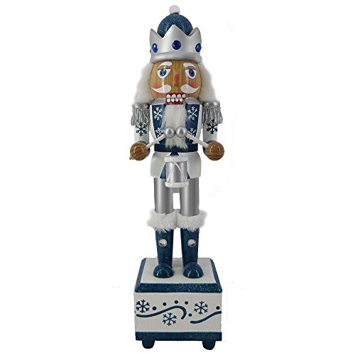 Christmas Nutcracker Figure King Working Music Box Snow Fantasy Fur and Rhinestones 12 inch ()