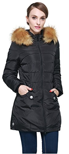 Orolay Women's Down Jacket with Faux Fur Trim Hood Black L