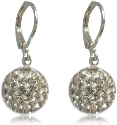 GiftJewelryShop 10MM Sterling Silver Plated White Disco Crystal Ball Dangle Leverback Earrings