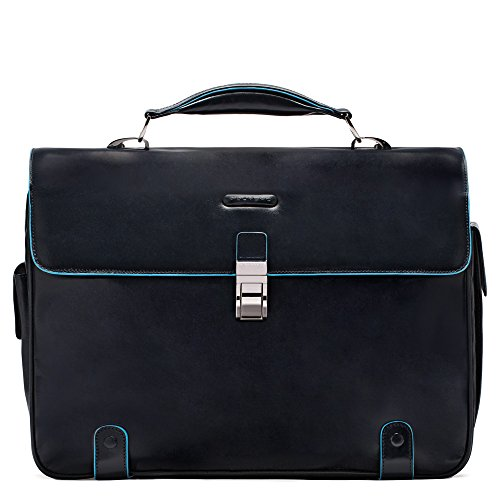 Piquadro Brief Case with 2 Gussets In Leather, Dark Blue, One Size by Piquadro