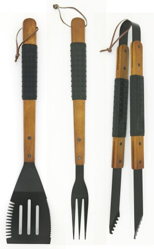 Mr Bar B Q 02162XNST 3-Piece Sure Grip Spatula, Tongs and Fork - Rosewood Barbecue Tongs