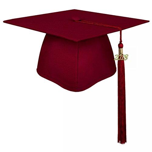 lescapsgown Unisex Adult Graduation Cap with Tassel 2019 Year Charm-Matte Maroon