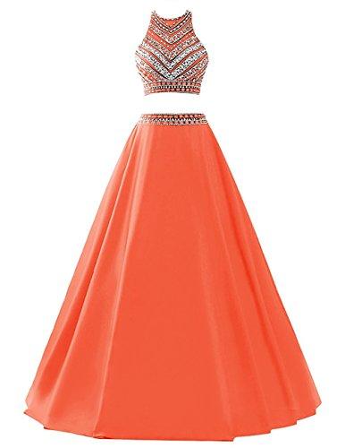 orange satin prom dress - 8
