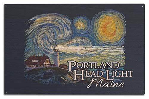 Lantern Press Cape Elizabeth, Maine - Portland Head Lighthouse - Starry Night - Contour 98871 (10x15 Wood Wall Sign, Wall Decor Ready to Hang)