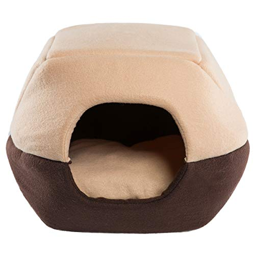 Hollypet Coral Velvet Self-Warming 2-in-1 Foldable Cave House Shape Nest Pet Sleeping Bed for Cats and Small Dogs, Brown