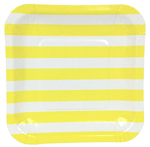Just Artifacts Square Paper Party Plates 7.25in (12pcs) - Lemon Yellow Striped - Decorative Tableware for Birthday Parties, Baby Showers, Grad Parties, Weddings, and Life Celebrations!