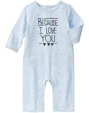 Clothes for Baby Boy - Blue Romper Because I Love You Romper