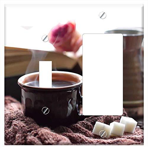 1-Toggle 1-Rocker/GFCI Combination Wall Plate Cover - Coffee Cup Drink Dawn Chocolate Sugar Mug Hot