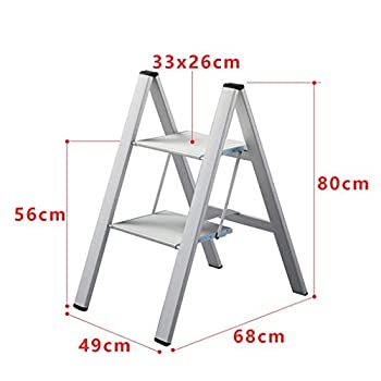 HANHANGYUANDA Ladder-Ladder Aluminum Ladder Ultra-Thin Folding Home Small Wide Pedal Flower Stand Ladders,White,684980Cm