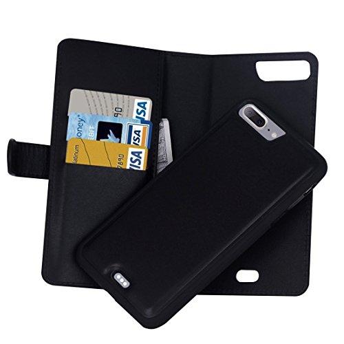 MXNET IPhone 7 Plus Case, Plain Weave Texture Zipper Horizontale Flip Leder Tasche mit abnehmbarem Rücken Schutzhülle & Card Slots & Wallet CASE FÜR IPHONE 7 PLUS ( Color : Black )