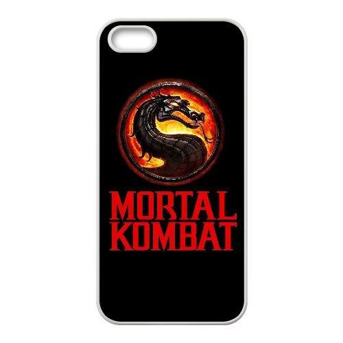 D2R77 mortel logo kombat Y2S7LA coque iPhone 5 5s cellulaire cas de téléphone de couverture coque KT7ROS6ZS blancs