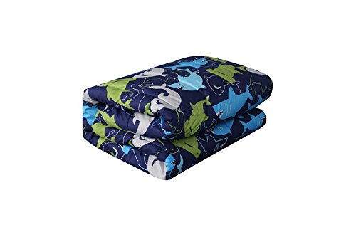 MB Home Collection Full Size 4 pieces Printed Blue, Sky Blue, lime green, Grey Shark Design comforter set with Pillow sham # Shark 4 Pcs Comforter