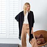 Mer Sea & Co Luxury Aspen Wrap - Black - Cashmere and Soft Merino Wool (71'' x 24'')