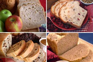 Fruit & Nut Collection Bread Machine Mixes (for oven also) (Cranberry Nut, California Raisin, Knobby Apple & Prairie Sunflower)