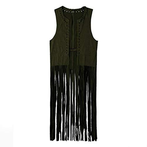 LEKODE Women T-Shirt Comfort Lightweight Tassels Sleeveless Print Suede Fringed Wild Vest(Army Green,S)