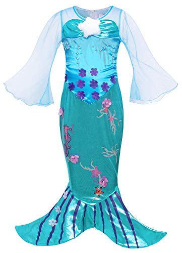 HenzWorld Girls Princess Little Mermaid Costumes Ariel Dress Up Mesh Flower Halloween Outfit -