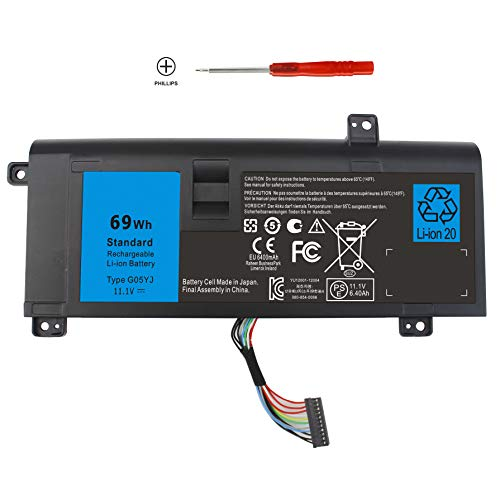 Shareway 6-Cell Replacemnet Laptop Battery for Dell Alienware 14 A14 M14X  R3 R4 14D-1528 ALW14D-5728 ALW14D-5528 G05YJ 0G05YJ [11 1V 69Wh] - 12  Months