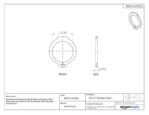 [해외]표준 외부 고정 링, 테이퍼 진 부분, 축 어셈블리, PH15-7 스테인레스 스틸, 패시 베이트 피니쉬, 5 16 샤프트 직경, 0.025 두꺼운 재질/Standard External Retaining Ring, Tapered Section, Axial Assembly, PH15-7 Stainless Steel, Passivated F...