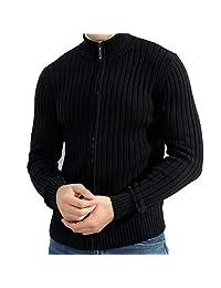 Uni-fashion Men's Casual Slim Full Zip Cotton Knitted Cardigan Sweaters£¨XL-7XL£