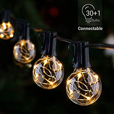 LED Outdoor String Lights - Novtech Waterproof Patio String Lights - 32FT 30Bulbs G40 Globe String Lights Outdoor Decorative String Lights for Backyard Pergola Party Bistro Porch Cafe - Connectable