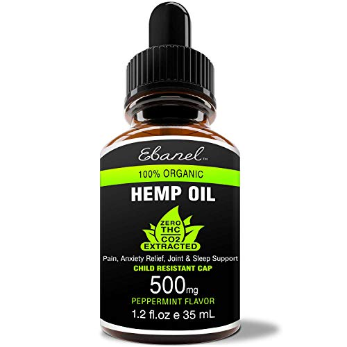Hemp Oil Extract for Pain, Anxiety and Stress Relief, 1.2oz 500mg Purest Organic Hemp Extract, Non-Diluted Potent Hemp Drops for Mood and Sleep Support, Premium Quality Non-GMO with Peppermint -