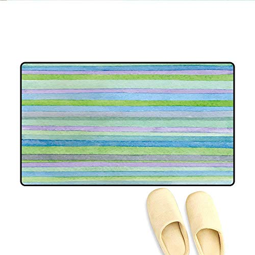 (Doormat Hand Drawn Style Watercolor Striped Pattern Soft Colors Acrylic Paint Artwork Bath Mat 3D Digital Printing Mat Blue Green Violet)