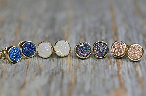 (Druzy Stud Earring White Purple Blue Rose Color- Real Druzy Gemstones - 8.5mm)