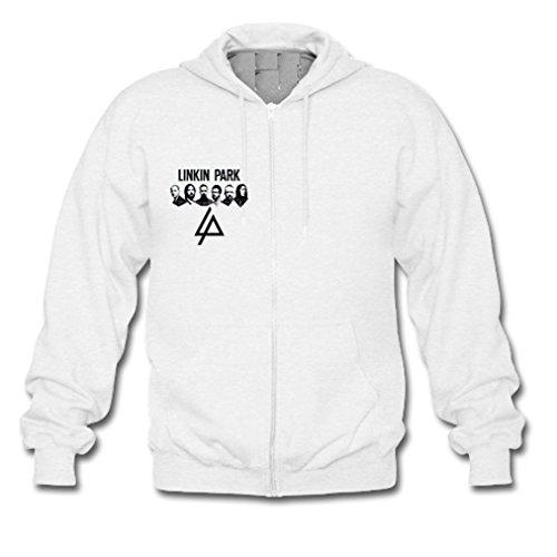 HJGBEDS Mens Linkin Park Cool Logo Gildan Zipper Hoodie Medium White